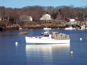 Maine lobster boats like this one will soon fill the harbor.  Photo copyright N. Hammond