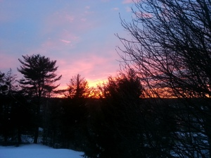 An early-spring sunset is our reward after a long, cold winter. Photo copyright Karen Hammond
